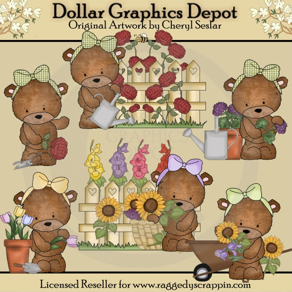 Bailey Bear's Flower Garden - Clip Art - Click Image to Close
