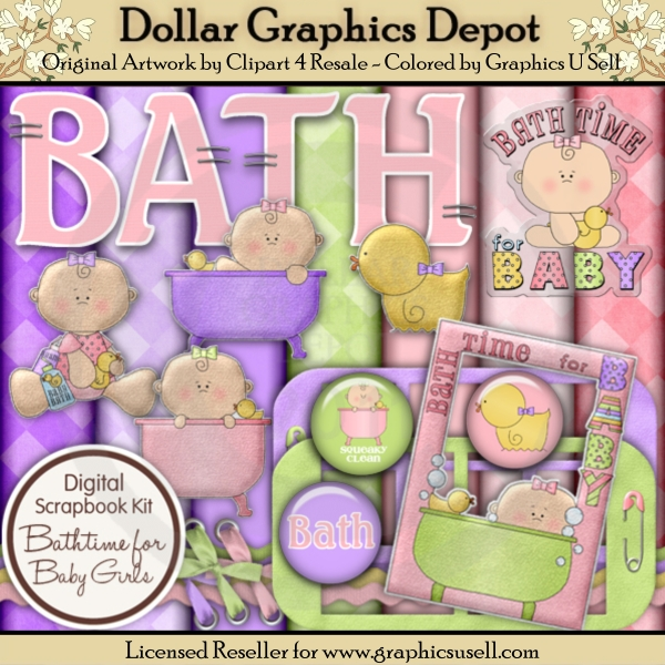 Bath Time for Baby Girl - Scrap Kit - Click Image to Close