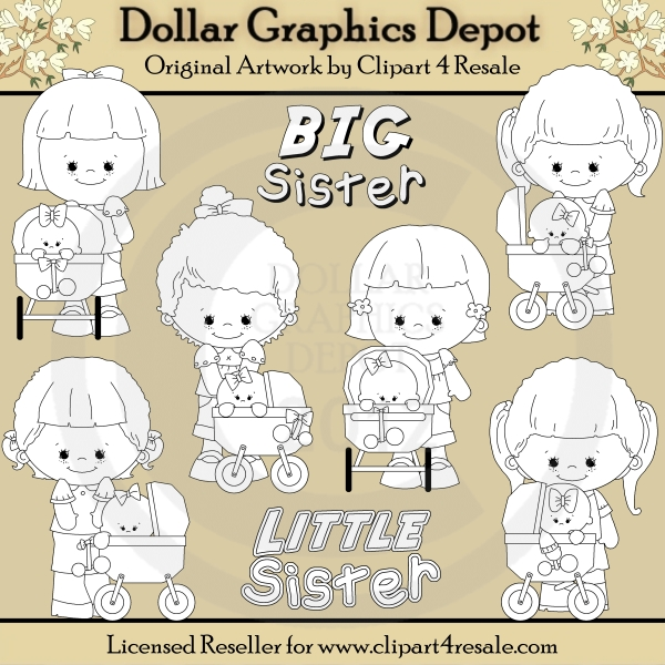Big Sister - Little Sister - Digital Stamps - *DGD Exclusive* - Click Image to Close