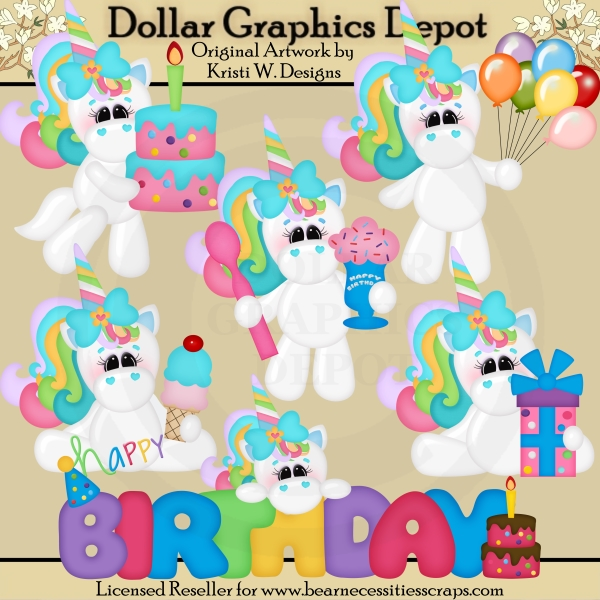 Birthday Unicorns - Clip Art - *DGD Exclusive* - Click Image to Close