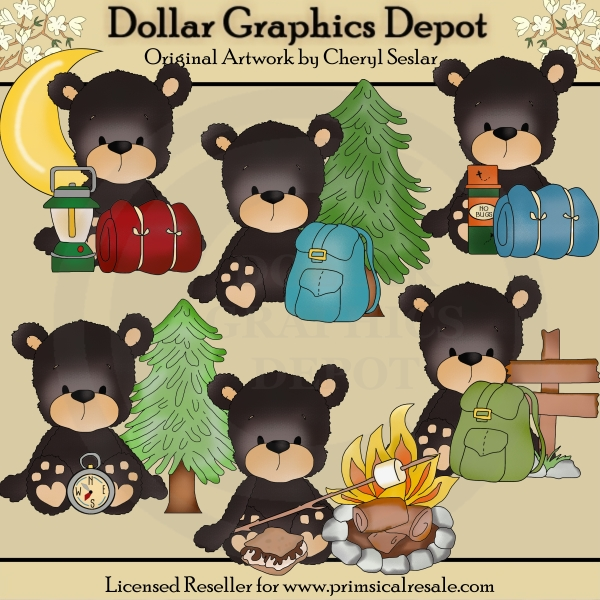 Blacky Bear - Camping Trip - Clip Art - Click Image to Close