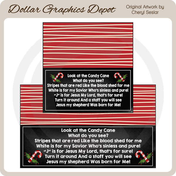 Candy Cane Legend Chalkboard Bag Toppers - Click Image to Close