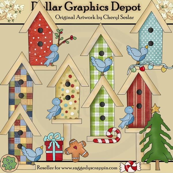 Christmas Birdhouses.Christmas Birdhouses 1 00 Dollar Graphics Depot