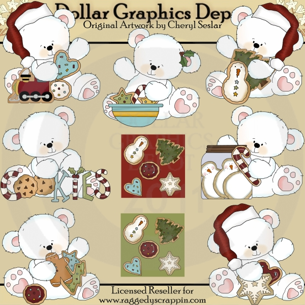 Christmas Cookie Polar Bears - Clip Art - Click Image to Close