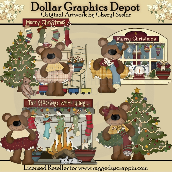 Christmas Home Bears - Clip Art - *DGD Exclusive* - Click Image to Close