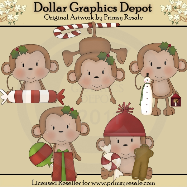 Christmas Monkeys 1 - Click Image to Close