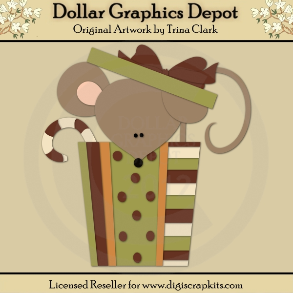 Christmas Mouse 1 - Cutting Files / Paper Piecing Patterns - Click Image to Close