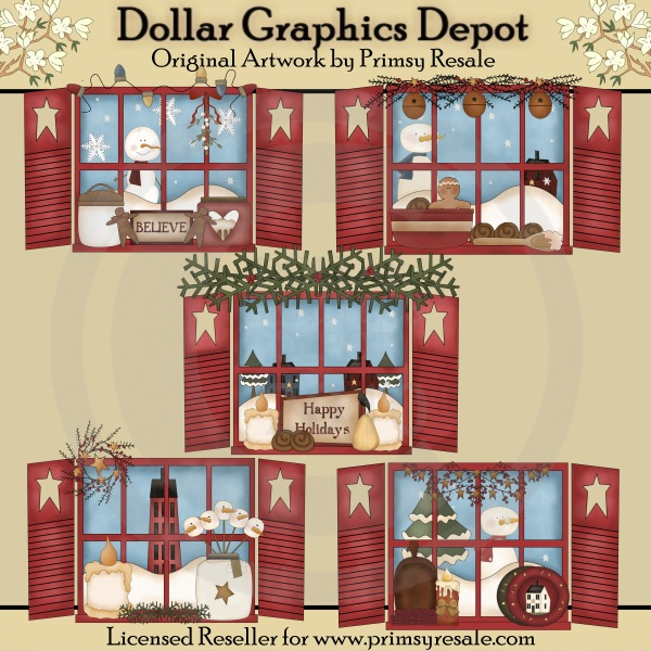 Christmas Windows Clip Art