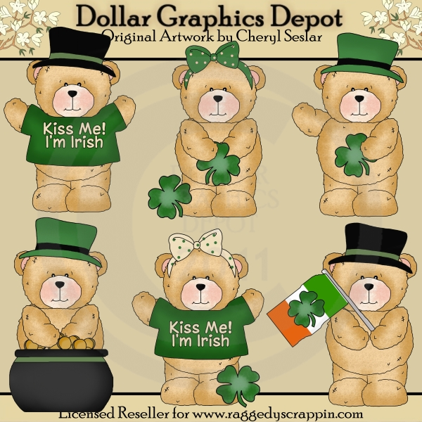 Chubby Cubby - Irish Bears - Clip Art - Click Image to Close