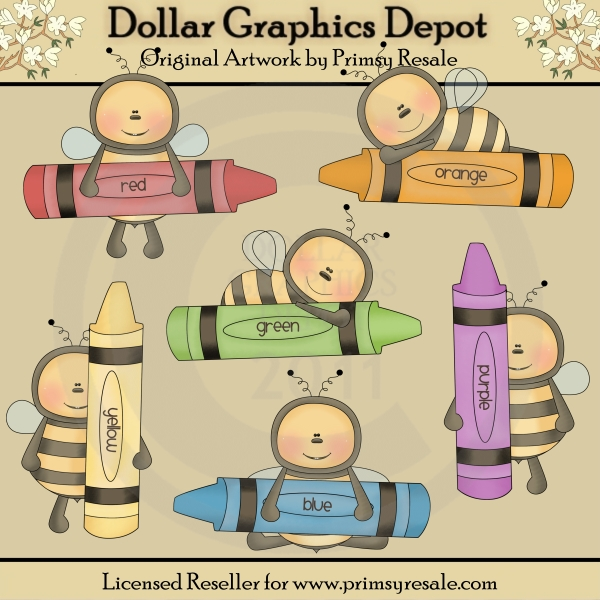 Color Bees - Clip Art - Click Image to Close