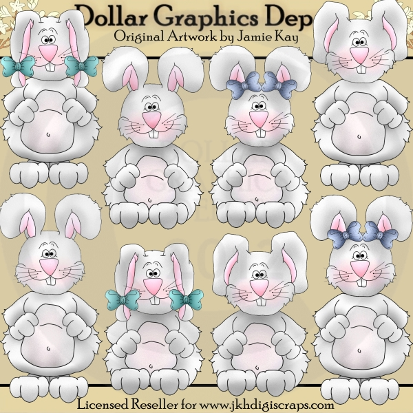 Country Bunnies - Clip Art - Click Image to Close