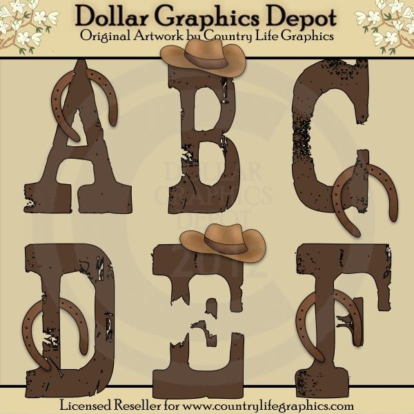 Country Western Alphas - $1.00 : Dollar Graphics Depot, Quality ...