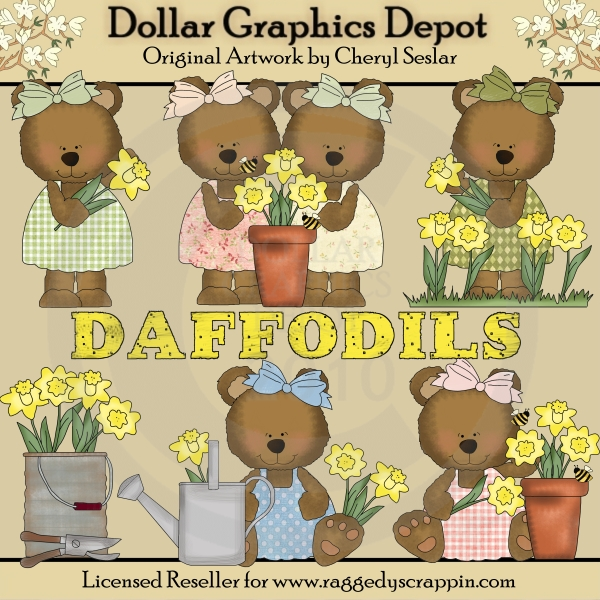 Daffodil Bears - Clip Art - *DGD Exclusive* - Click Image to Close