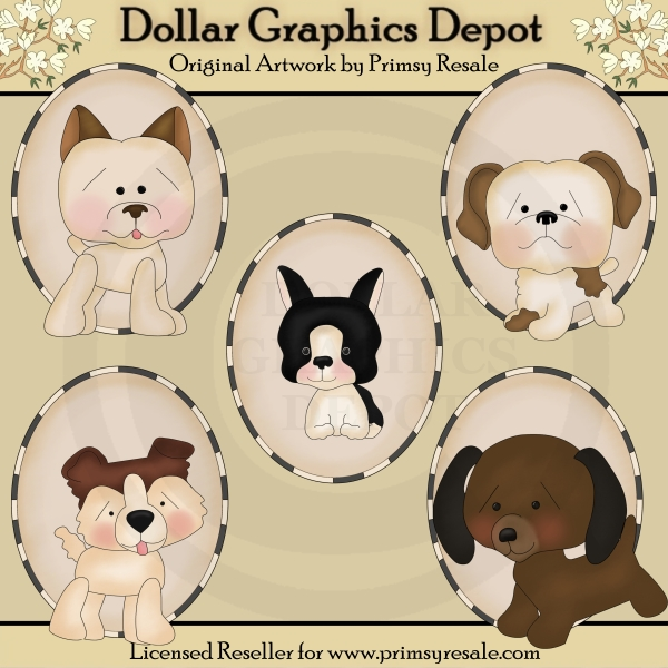 Dogs 1 - Ovals - Clip Art - Click Image to Close