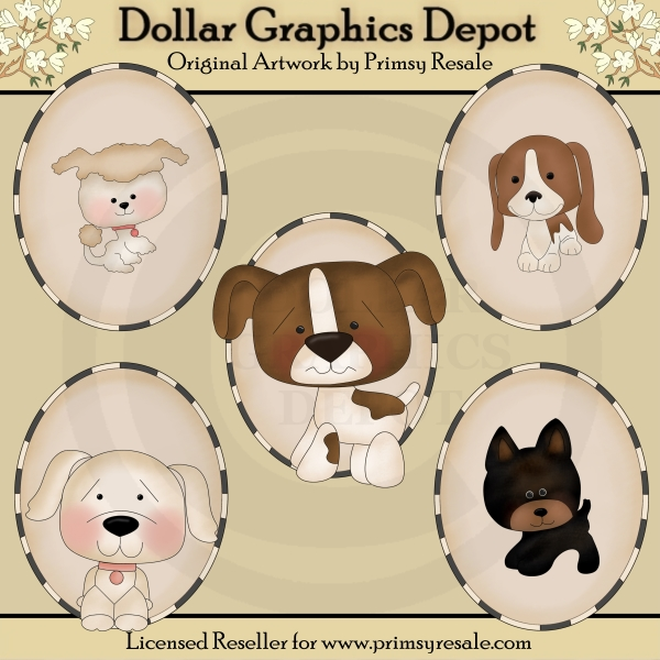 Dogs 2 - Ovals - Clip Art - Click Image to Close