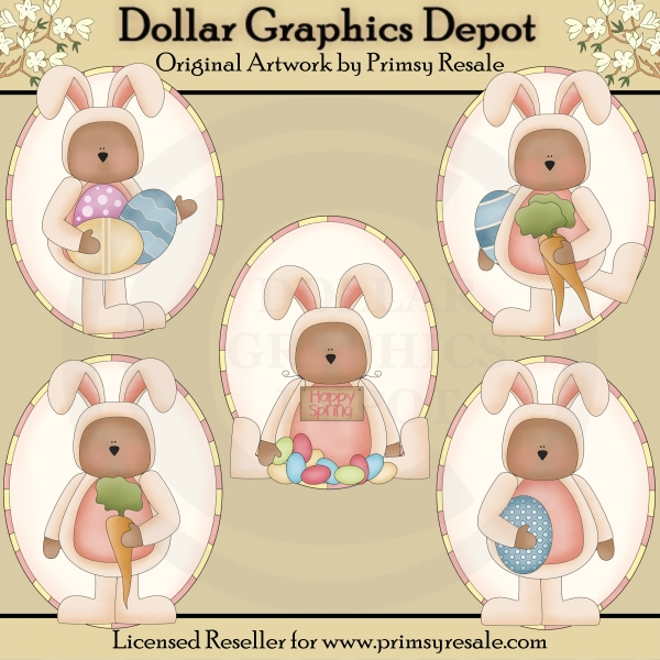 Easter Bunny Bears - Ovals - Clip Art - Click Image to Close