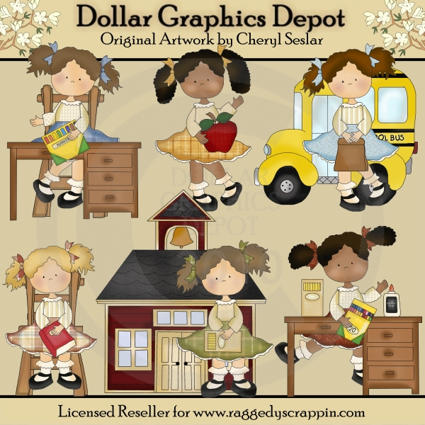 Elementary Girls - Clip Art - *DGD Exclusive* - Click Image to Close