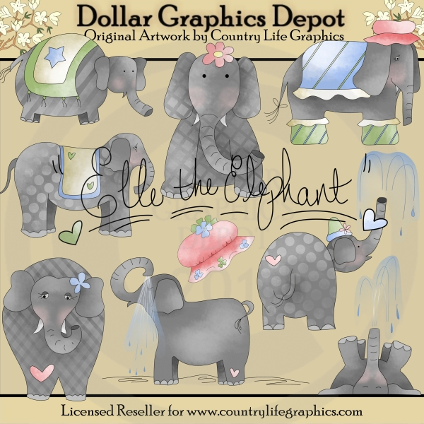 Elle The Elephant - Clip Art - Click Image to Close