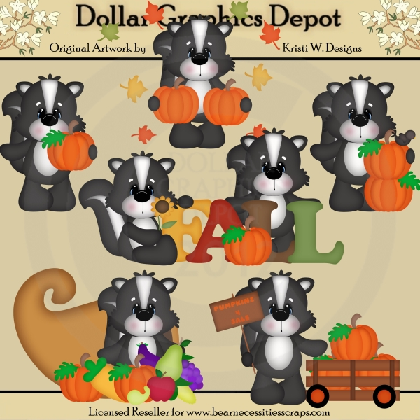 Fall Skunks - Clip Art - *DGD Exclusive* - Click Image to Close