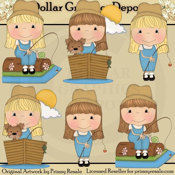 2a84a7707 Fishing Friends - Girls - Clip Art -  1.00   Dollar Graphics Depot ...