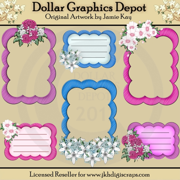 Floral Frames and Journal Tags - Click Image to Close