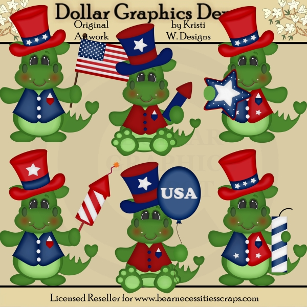 Fourth of July Dragons - Clip Art - *DGD Exclusive*