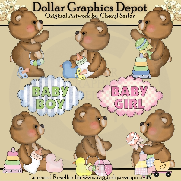 Fuzzy Cubs - Baby Bears - Clip Art - Click Image to Close