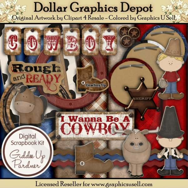 Giddee Up Pardner Scrap Kit - Click Image to Close