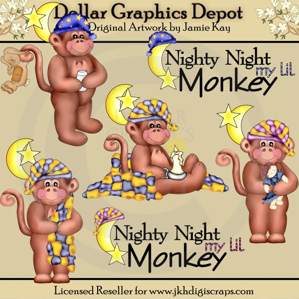 Lil Bedtime Monkeys - Clip Art - Click Image to Close