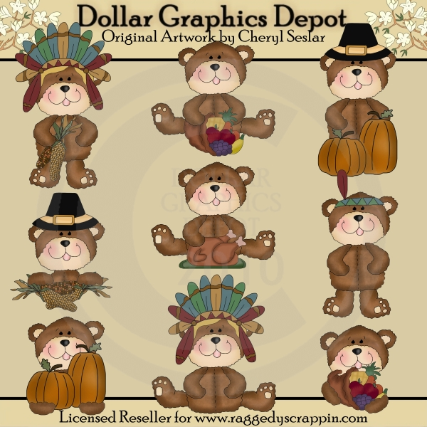 Little Pilgrim Bears - Clip Art - *DGD Exclusive* - Click Image to Close