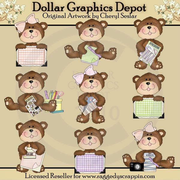 Little Scrapbook Bears - *DGD Exclusive* - Click Image to Close