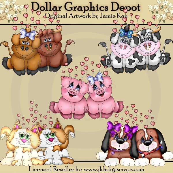Lovey Dovey Critters - Clip Art - Click Image to Close