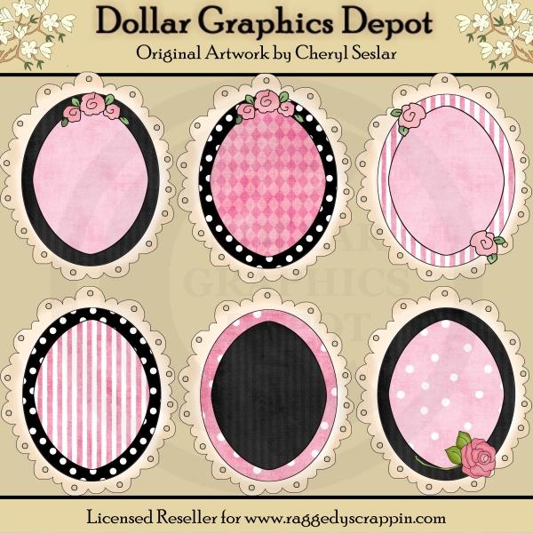 da5d2f2e7 Oval Doodle Frames - Pink   Black -  1.00   Dollar Graphics Depot ...