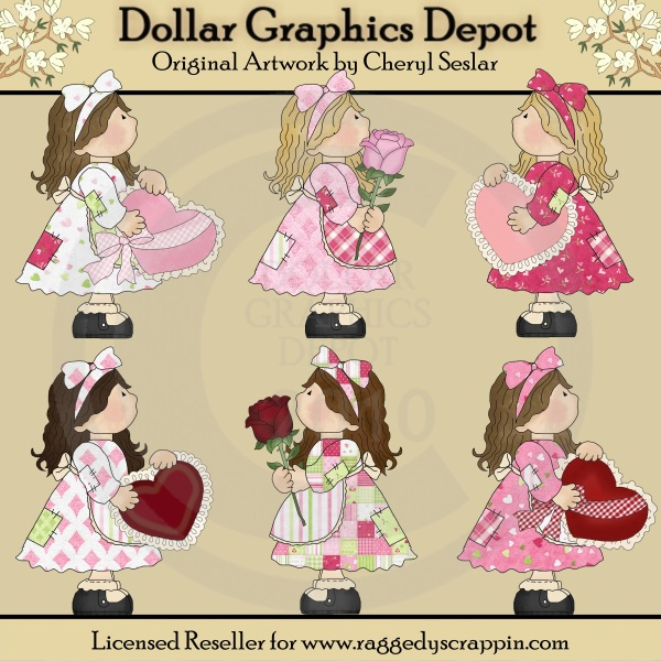 Patchwork Girls - Valentine Wishes - Clip Art - Click Image to Close