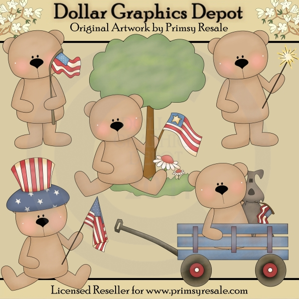 Patriotic Bears - Clip Art - Click Image to Close