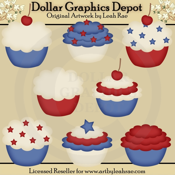 Patriotic Cupcakes - Clip Art - Click Image to Close