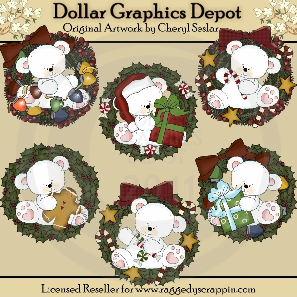 Polar Bears Christmas Wreaths - Click Image to Close