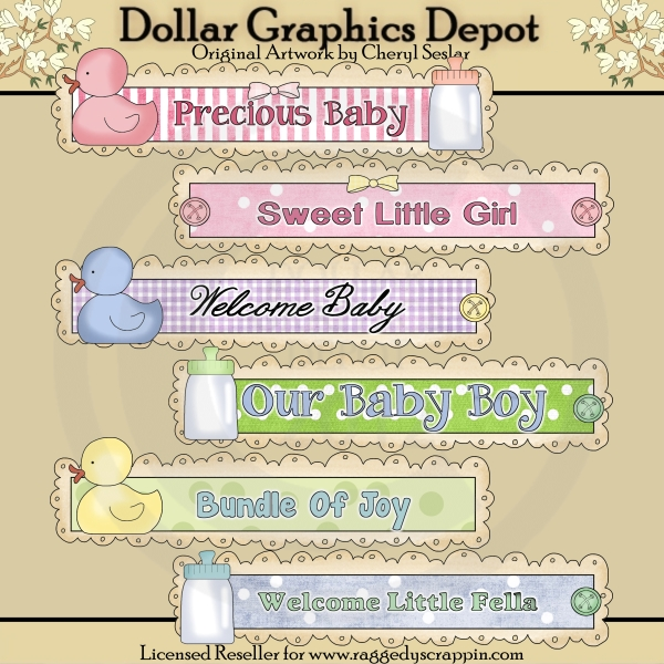 Precious Baby Doodle Titles - Clip Art - Click Image to Close