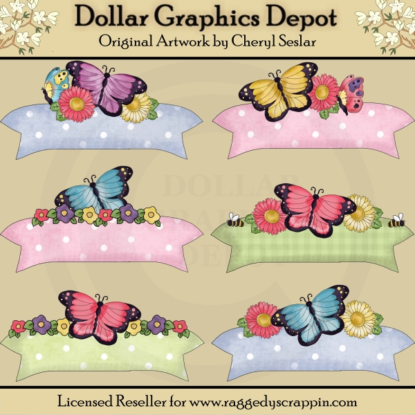 Pretty Butterfly Banners - Scrap Elements - Click Image to Close