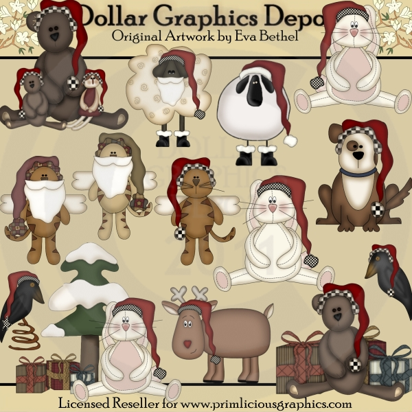 Prim Christmas Critters - Clip Art - Click Image to Close