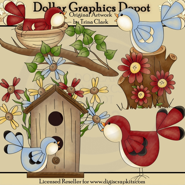 Spring Birds 1 - Clip Art - Click Image to Close