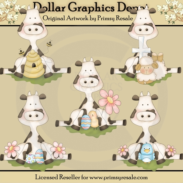 Spring Cows - Clip Art - Click Image to Close