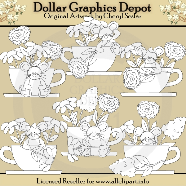 Teacups and Blooms - Digital Stamps - Click Image to Close