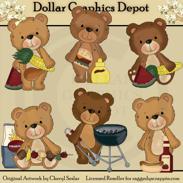 Timeless Teddies - BBQ - Clip Art - Click Image to Close