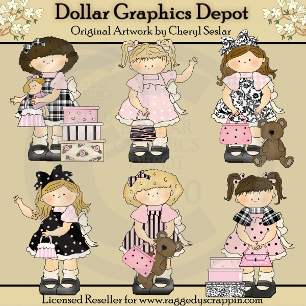 Toddler Girls - Pretty In Pink - Clip Art - Click Image to Close