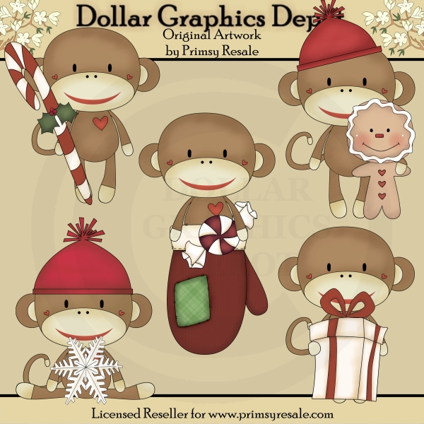 Winter Sock Monkeys - Clip Art - Click Image to Close