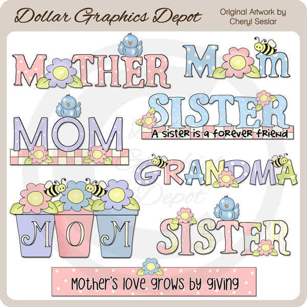 A Mother's Love - Word Art - Click Image to Close
