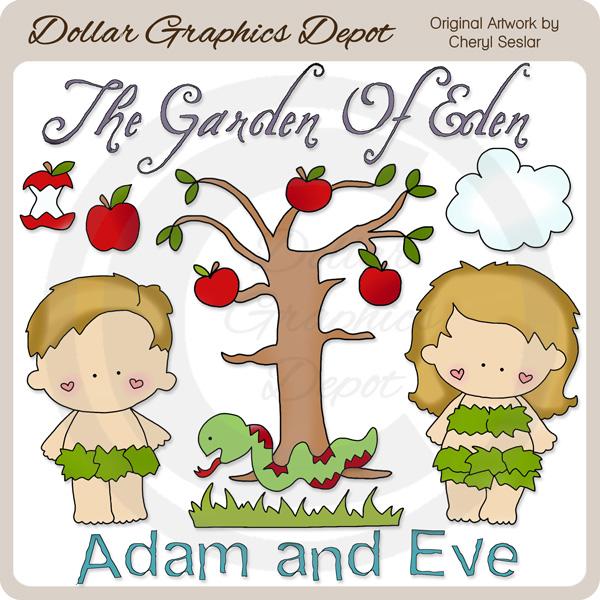 Adam and Eve - Clip Art - $1.00 : Dollar Graphics Depot, Quality ...