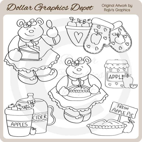 Apple Pie Bear - Digital Stamps - Click Image to Close