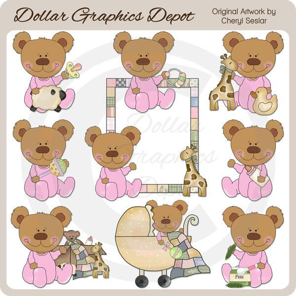 Baby Bears - Girls - Clip Art - Click Image to Close